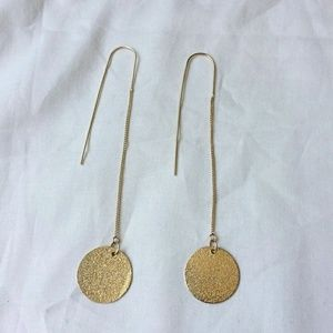 Jewelry - Frosted Coin Gold Tone Dangle Drop Eearrings